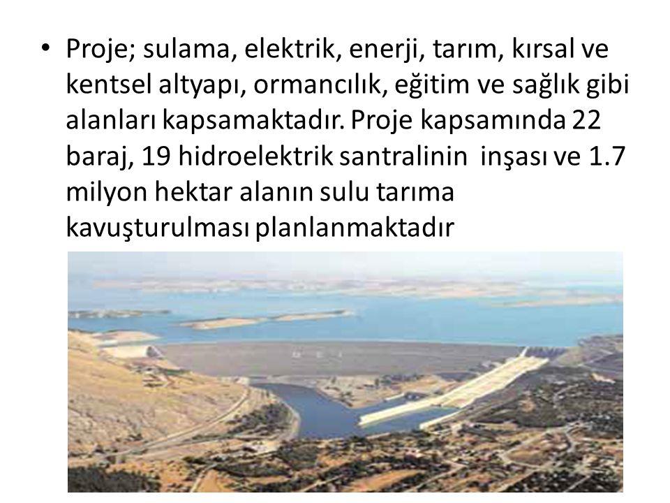Proje; sulama, elektrik, enerji, tarım, kırsal ve kentsel altyapı, ormancılık, eğitim ve sağlık gibi alanları kapsamaktadır.