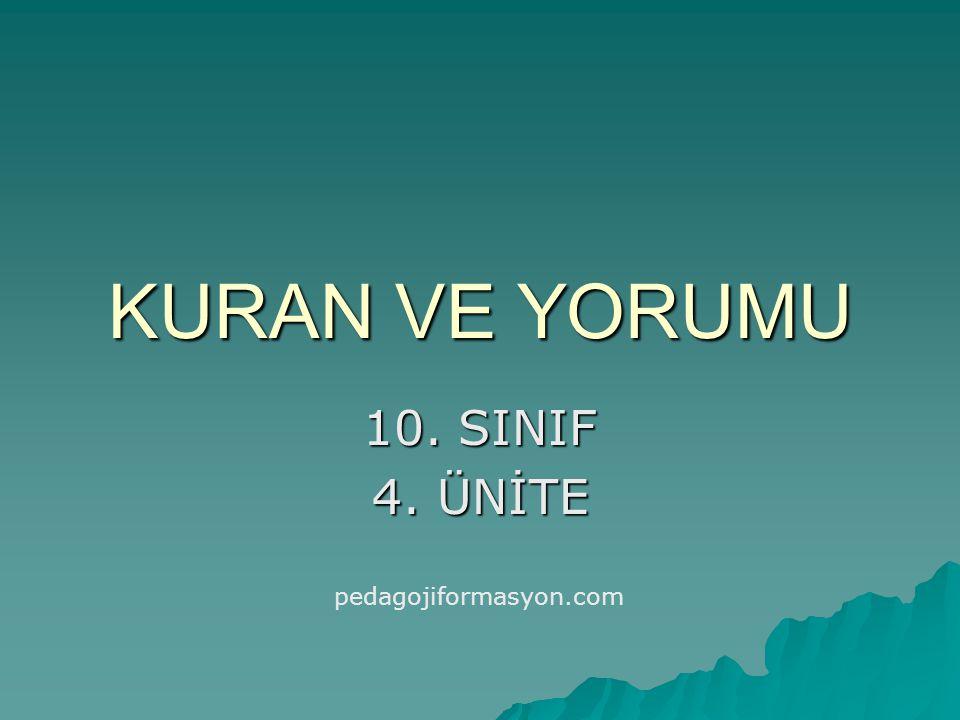 KURAN VE YORUMU 10. SINIF 4. ÜNİTE pedagojiformasyon.com