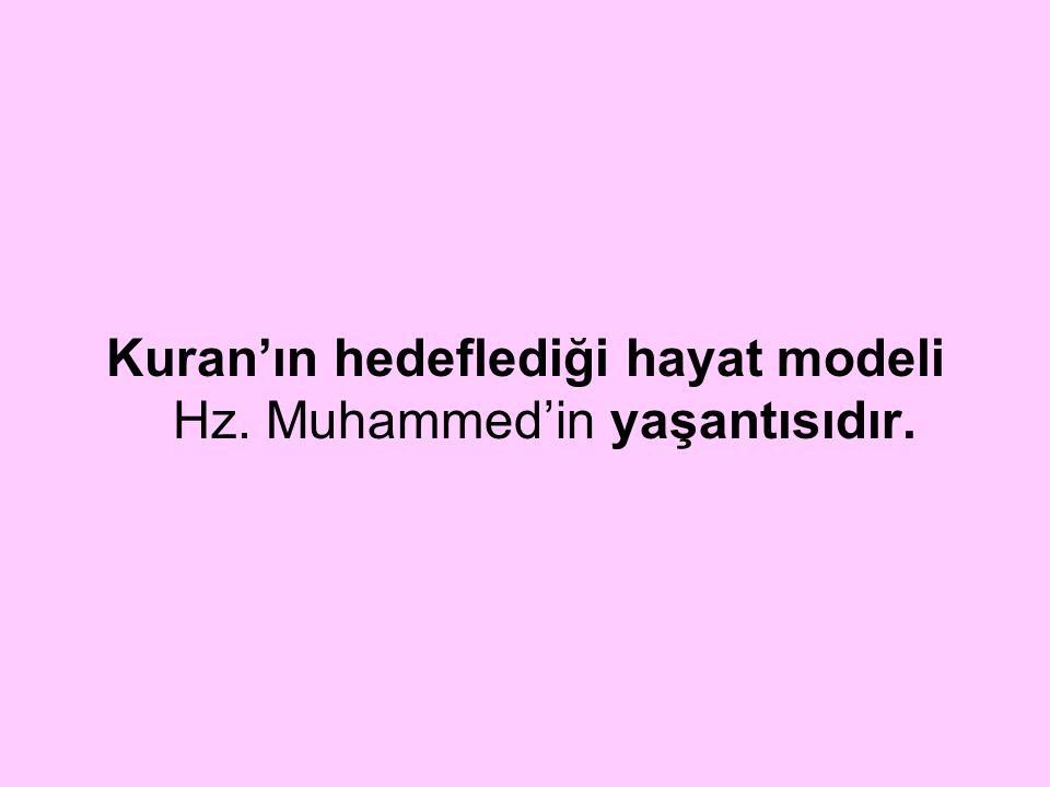 Kuran'ın hedeflediği hayat modeli Hz. Muhammed'in yaşantısıdır.