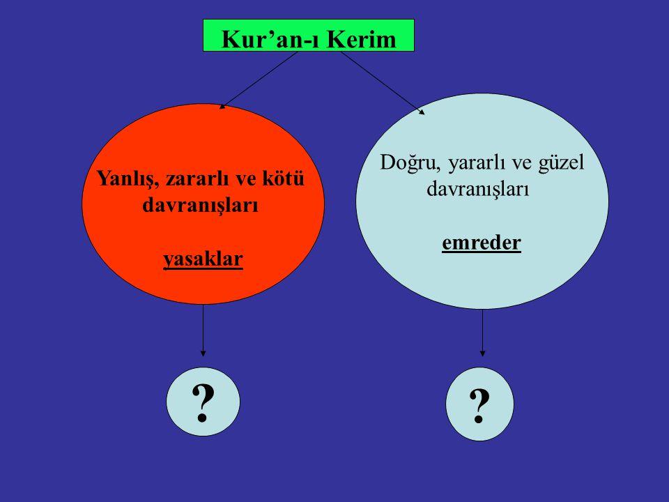 Kur'an-ı Kerim Doğru, yararlı ve güzel davranışları emreder