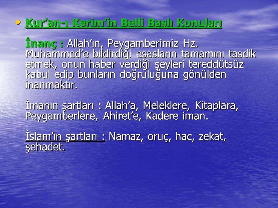 Kur'an-ı Kerim'in Belli Başlı Konuları İnanç : Allah'ın, Peygamberimiz Hz.