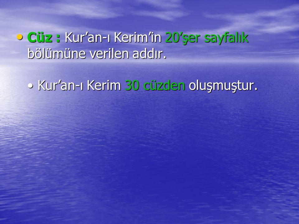 Cüz : Kur'an-ı Kerim'in 20'şer sayfalık bölümüne verilen addır