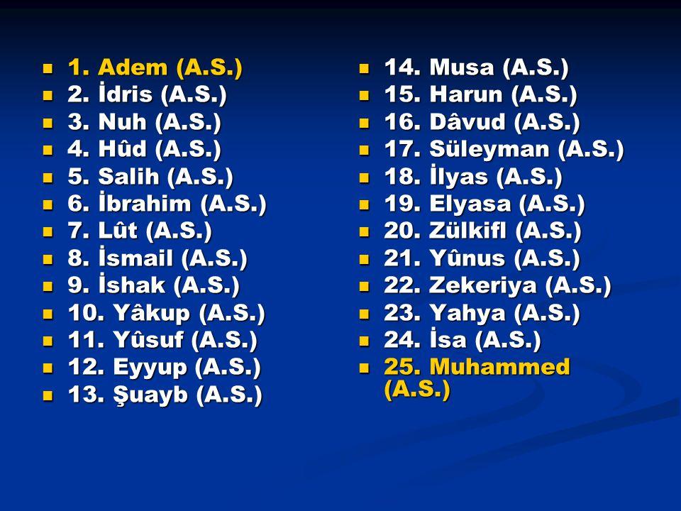 1. Adem (A.S.) 2. İdris (A.S.) 3. Nuh (A.S.) 4. Hûd (A.S.) 5. Salih (A.S.) 6. İbrahim (A.S.) 7. Lût (A.S.)