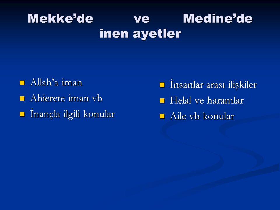 Mekke'de ve Medine'de inen ayetler