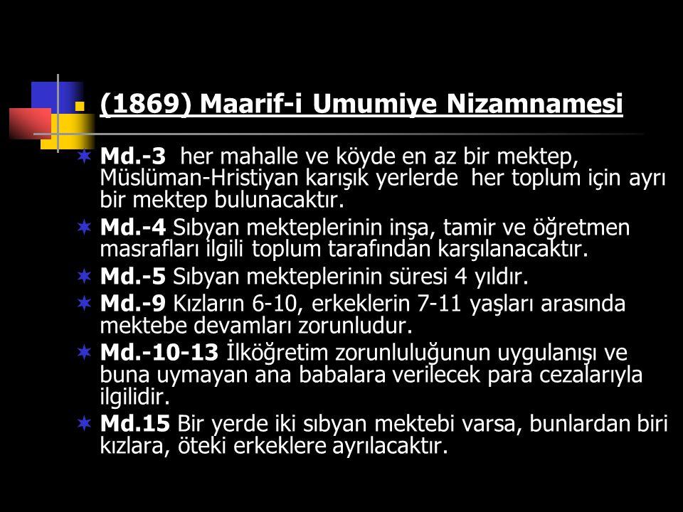 (1869) Maarif-i Umumiye Nizamnamesi