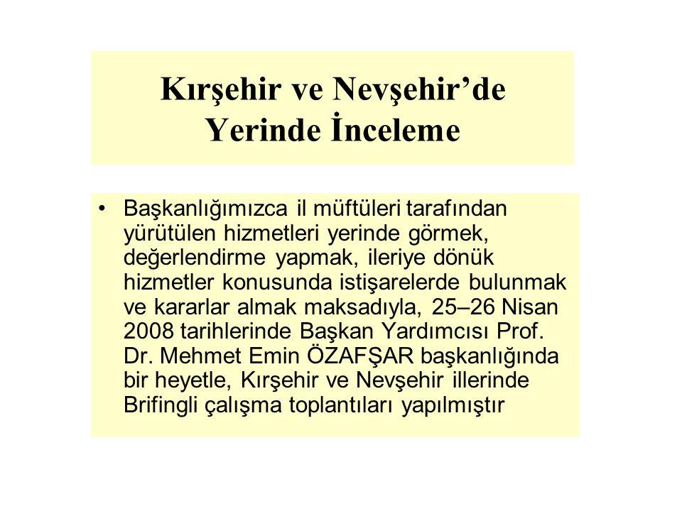 Kırşehir ve Nevşehir'de Yerinde İnceleme