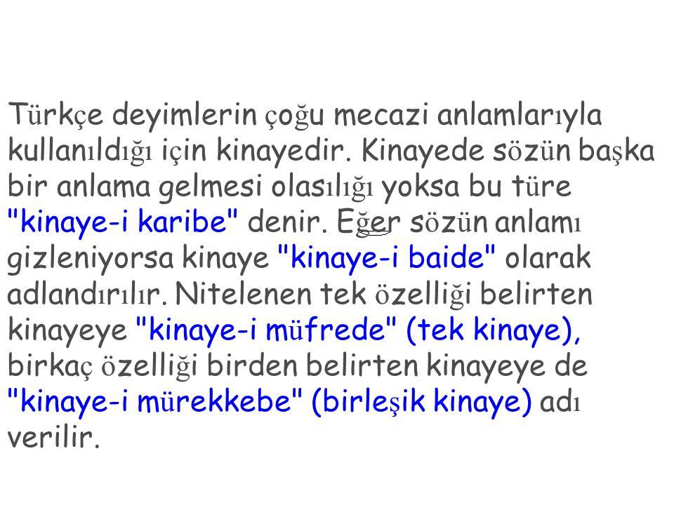 Türkçe deyimlerin çoğu mecazi anlamlarıyla kullanıldığı için kinayedir