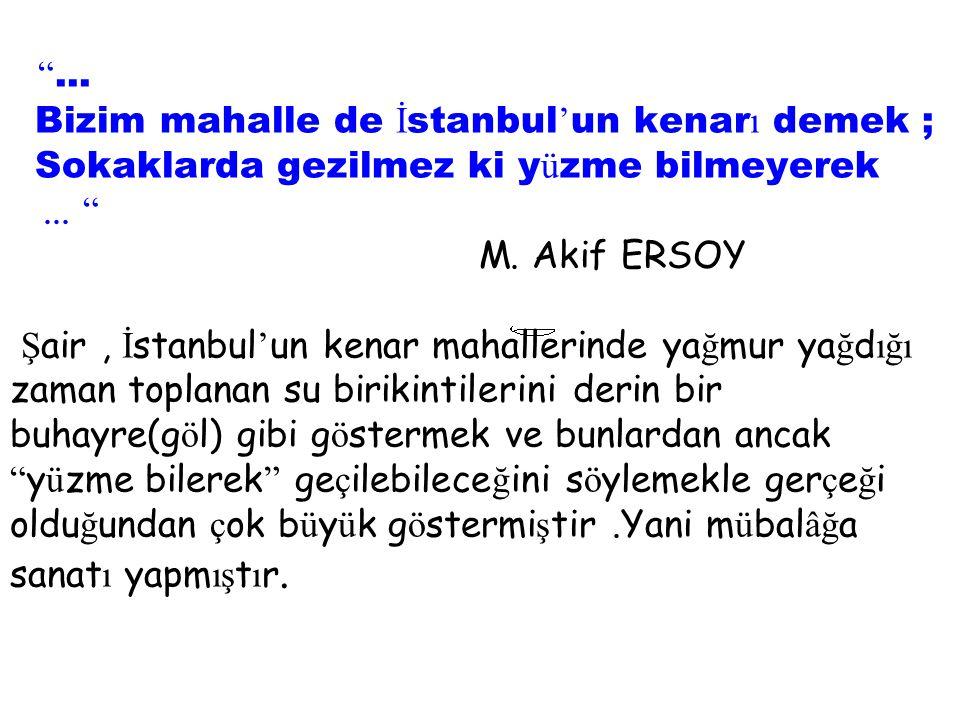 ... Bizim mahalle de İstanbul'un kenarı demek ; Sokaklarda gezilmez ki yüzme bilmeyerek ...
