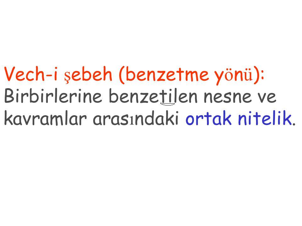 Vech-i şebeh (benzetme yönü): Birbirlerine benzetilen nesne ve kavramlar arasındaki ortak nitelik.