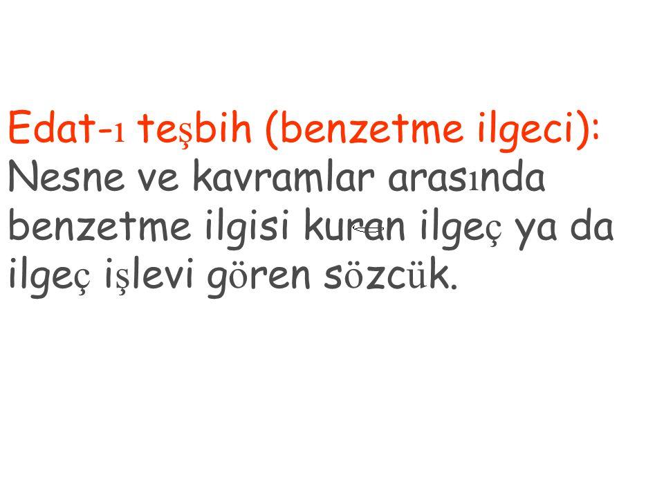 Edat-ı teşbih (benzetme ilgeci): Nesne ve kavramlar arasında benzetme ilgisi kuran ilgeç ya da ilgeç işlevi gören sözcük.