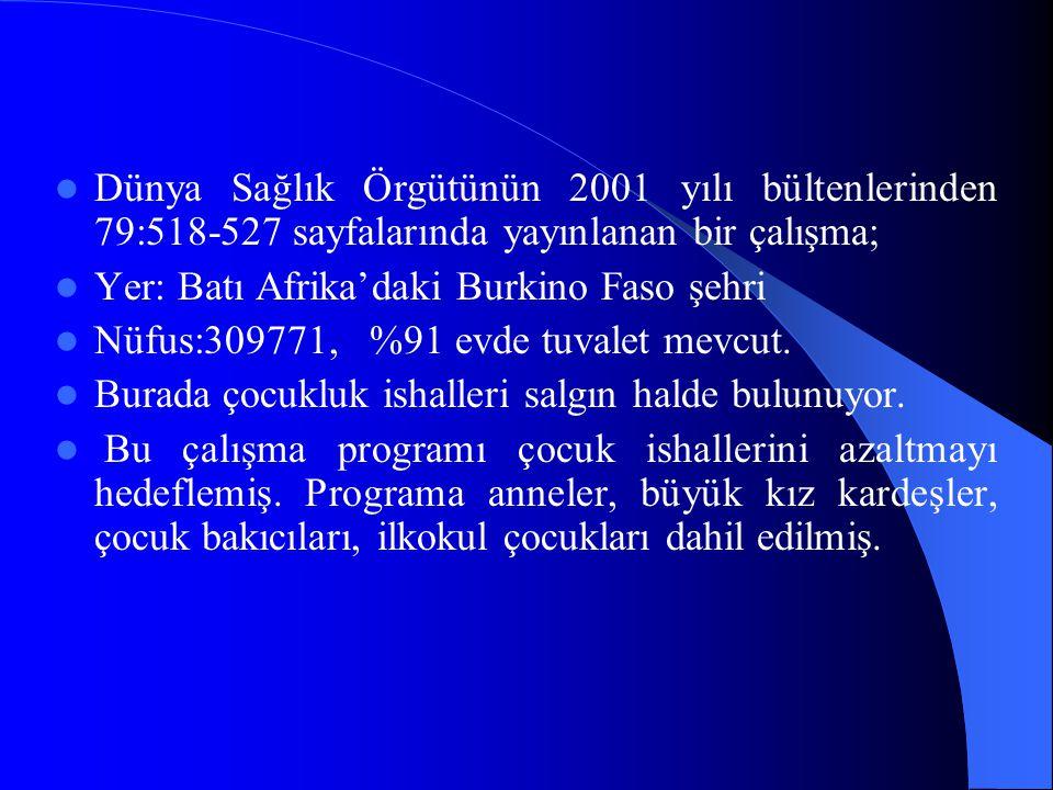 Dünya Sağlık Örgütünün 2001 yılı bültenlerinden 79:518-527 sayfalarında yayınlanan bir çalışma;