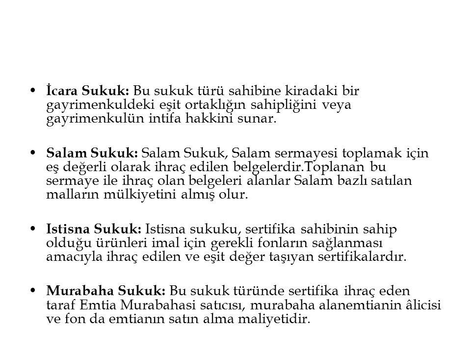 İcara Sukuk: Bu sukuk türü sahibine kiradaki bir gayrimenkuldeki eşit ortaklığın sahipliğini veya gayrimenkulün intifa hakkini sunar.