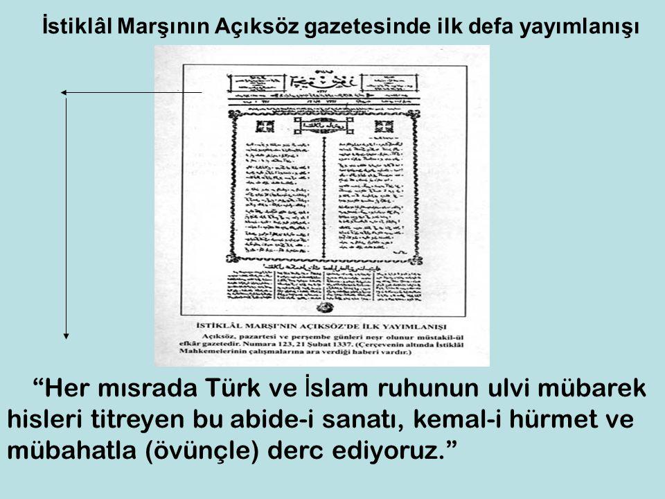 İstiklâl Marşının Açıksöz gazetesinde ilk defa yayımlanışı
