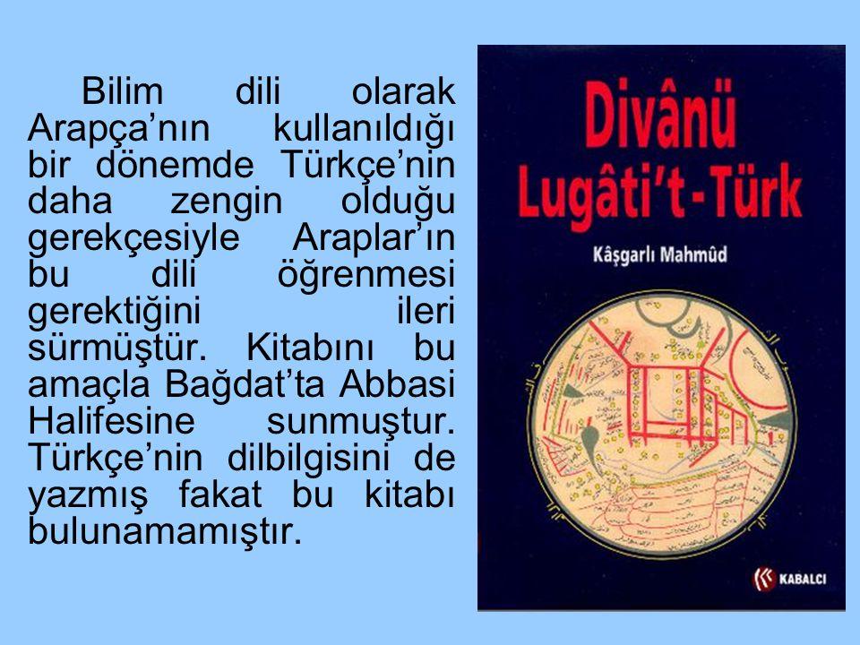 Bilim dili olarak Arapça'nın kullanıldığı bir dönemde Türkçe'nin daha zengin olduğu gerekçesiyle Araplar'ın bu dili öğrenmesi gerektiğini ileri sürmüştür.