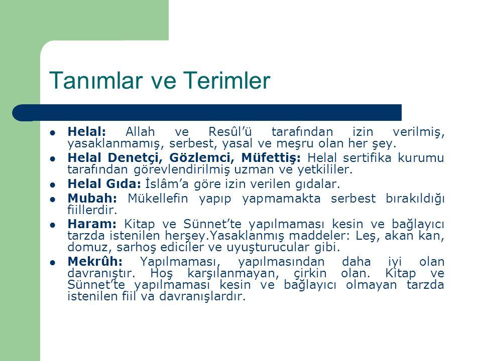 Tanımlar ve Terimler Helal: Allah ve Resûl'ü tarafından izin verilmiş, yasaklanmamış, serbest, yasal ve meşru olan her şey.