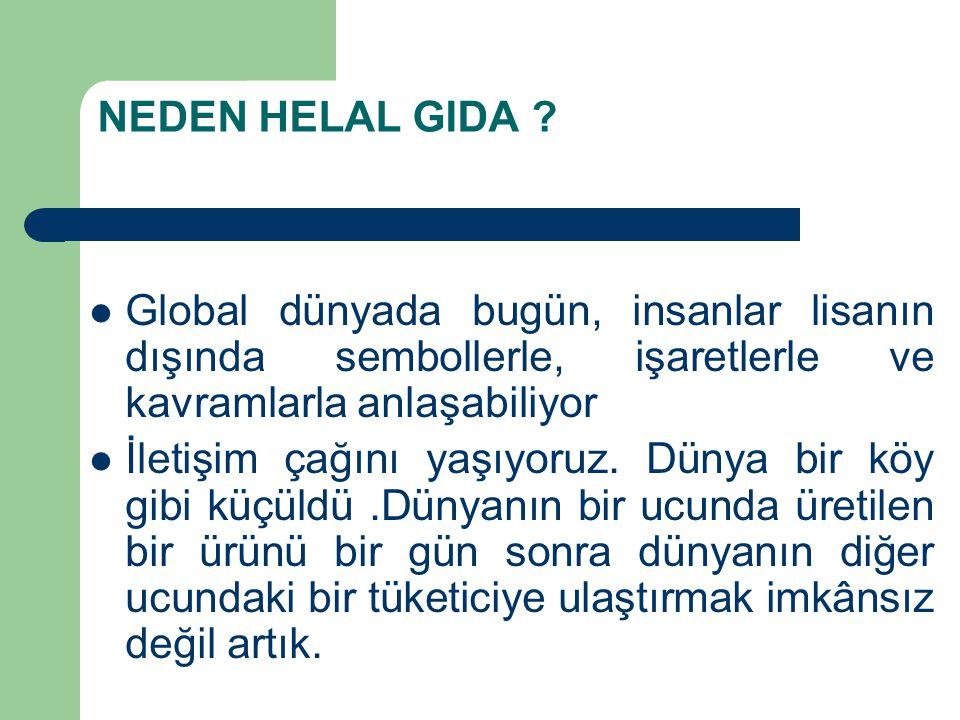 NEDEN HELAL GIDA Global dünyada bugün, insanlar lisanın dışında sembollerle, işaretlerle ve kavramlarla anlaşabiliyor.