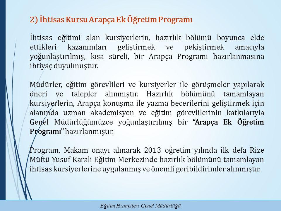 2) İhtisas Kursu Arapça Ek Öğretim Programı