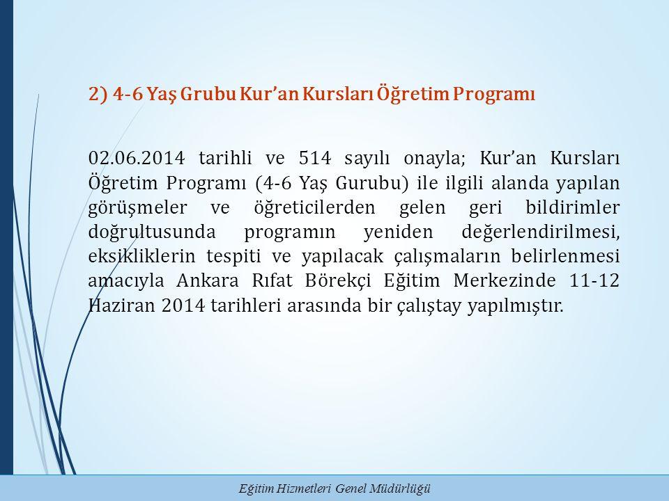 2) 4-6 Yaş Grubu Kur'an Kursları Öğretim Programı