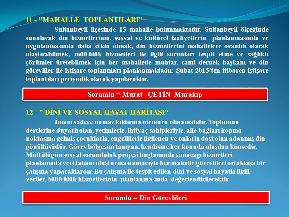 Sorumlu = Murat ÇETİN Murakıp Sorumlu = Din Görevlileri