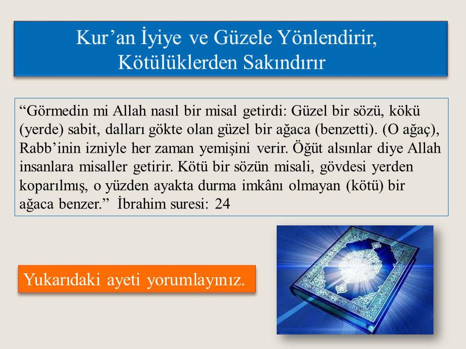 Kur'an İyiye ve Güzele Yönlendirir, Kötülüklerden Sakındırır