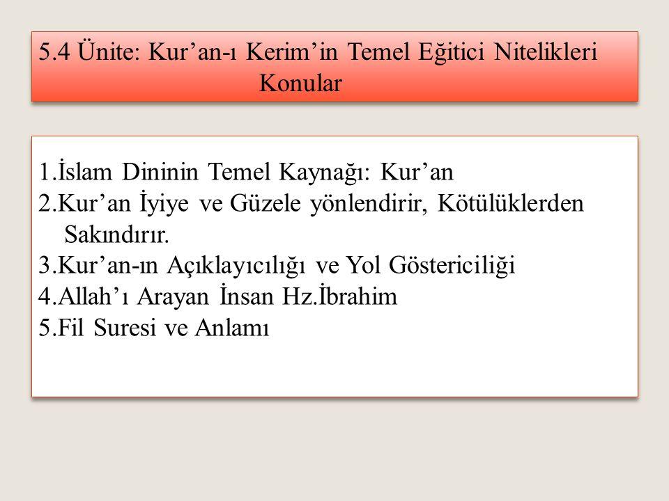 5.4 Ünite: Kur'an-ı Kerim'in Temel Eğitici Nitelikleri