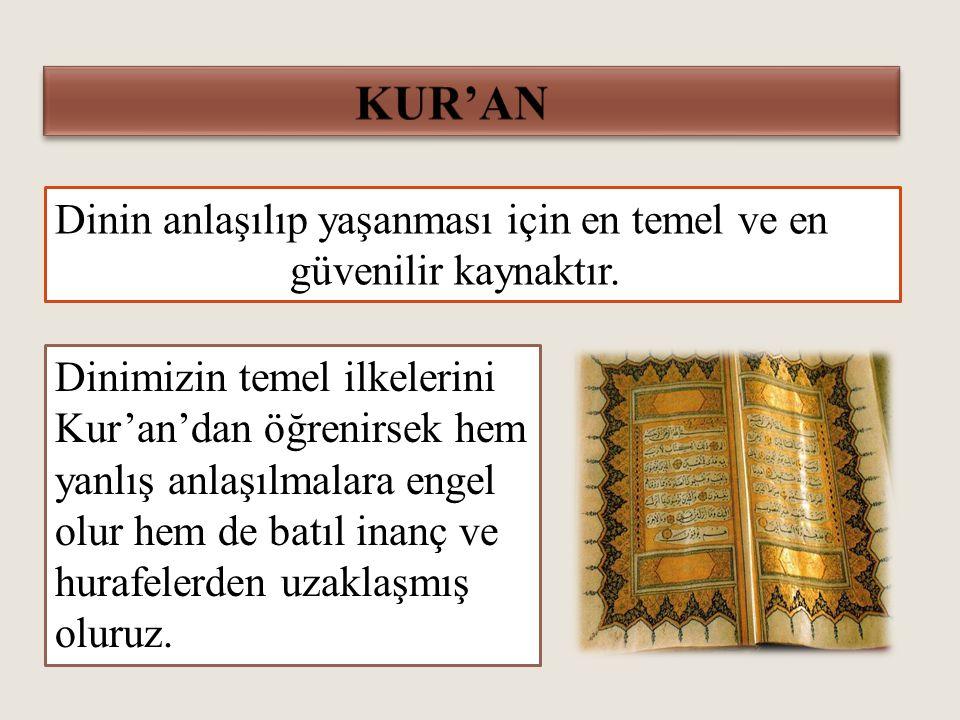 KUR'AN Dinin anlaşılıp yaşanması için en temel ve en