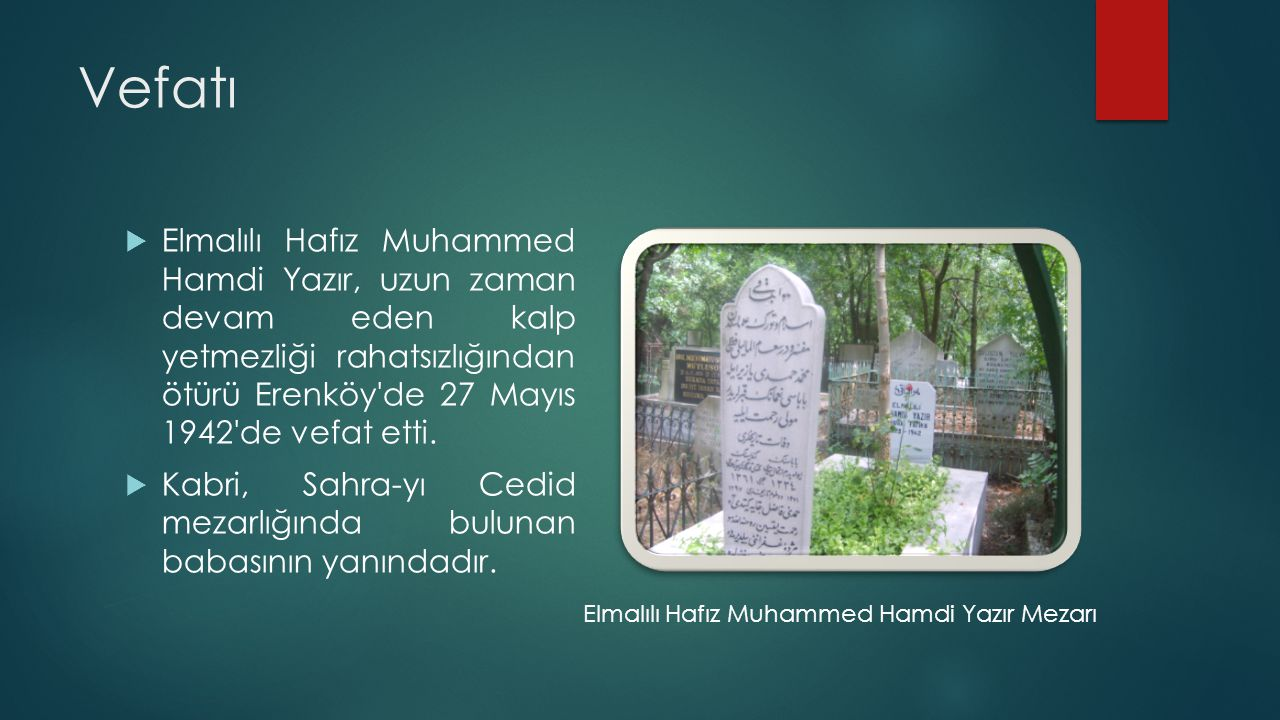 Vefatı Elmalılı Hafız Muhammed Hamdi Yazır, uzun zaman devam eden kalp yetmezliği rahatsızlığından ötürü Erenköy de 27 Mayıs 1942 de vefat etti.