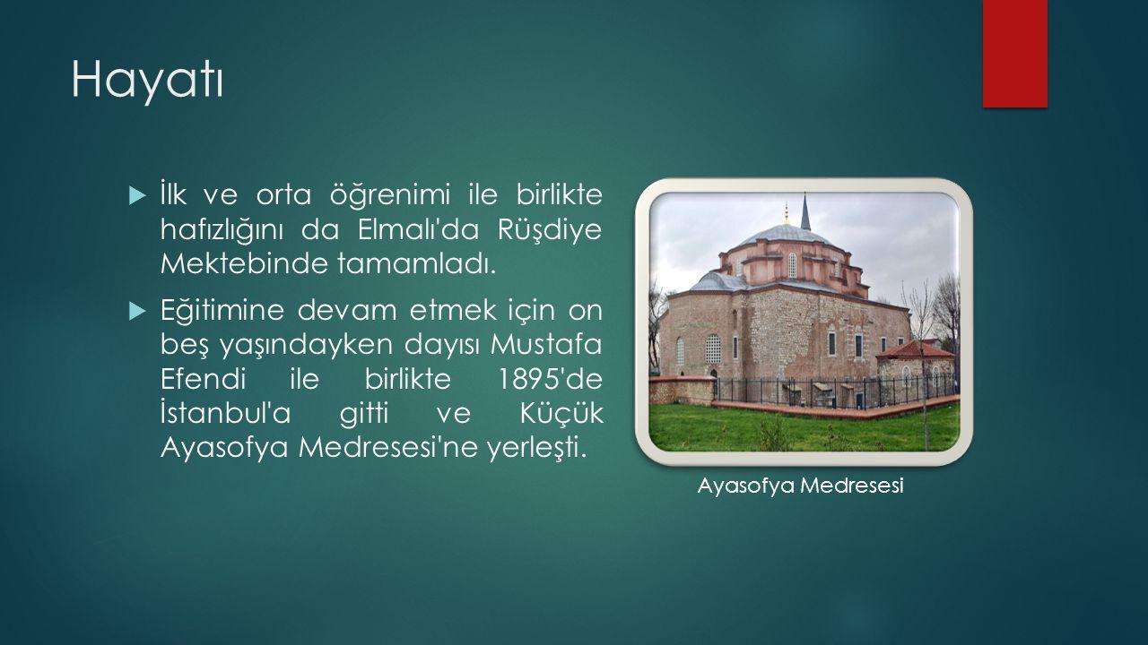 Hayatı İlk ve orta öğrenimi ile birlikte hafızlığını da Elmalı da Rüşdiye Mektebinde tamamladı.