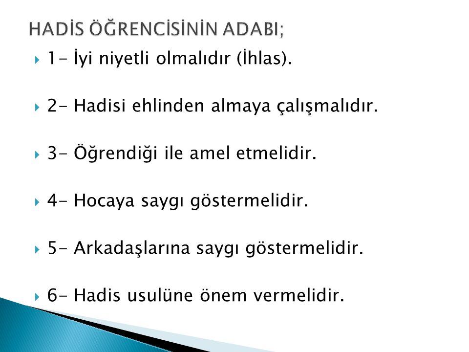 HADİS ÖĞRENCİSİNİN ADABI;