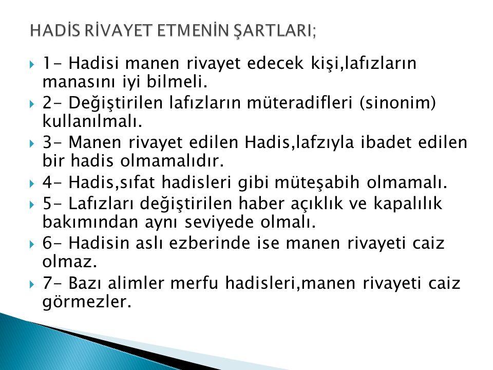 HADİS RİVAYET ETMENİN ŞARTLARI;