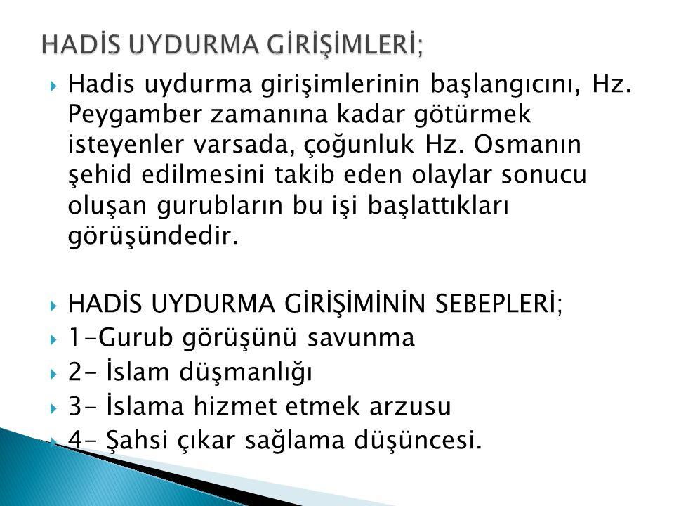 HADİS UYDURMA GİRİŞİMLERİ;