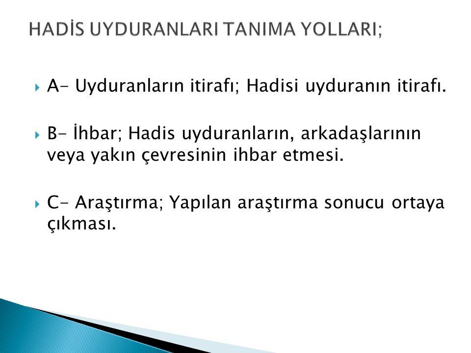 HADİS UYDURANLARI TANIMA YOLLARI;