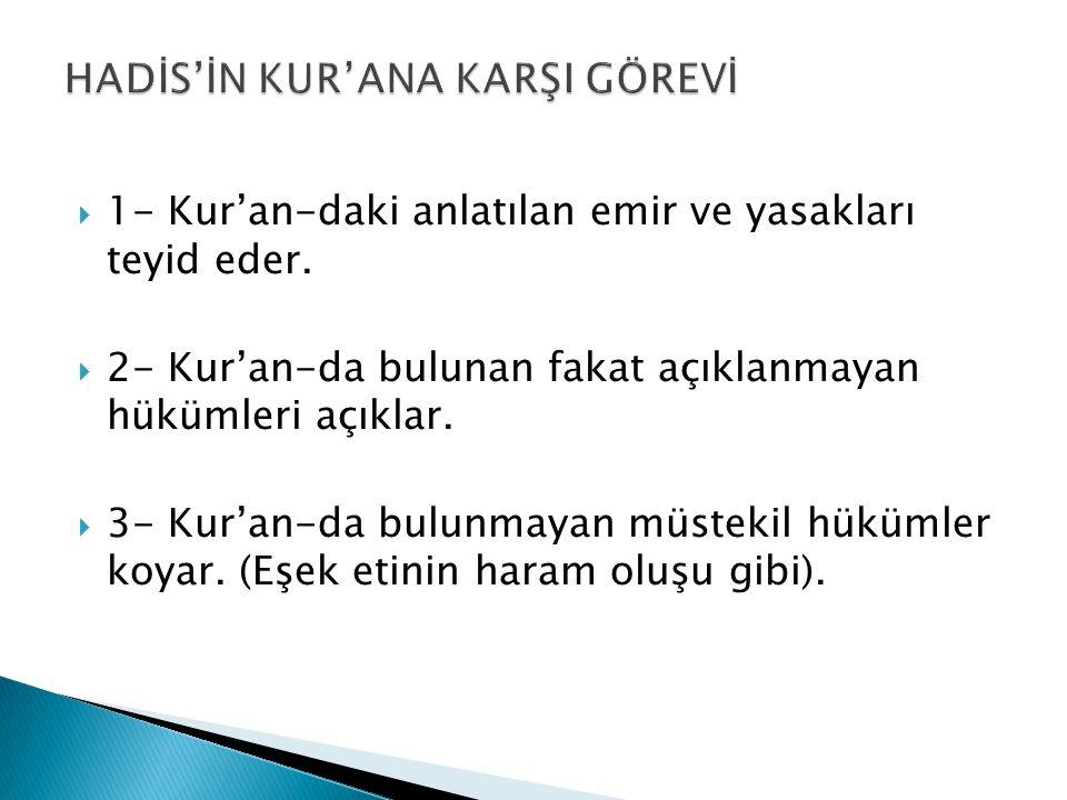 HADİS'İN KUR'ANA KARŞI GÖREVİ