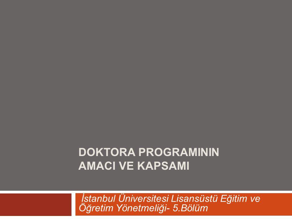 Doktora ProgramInIn AmacI ve KapsamI