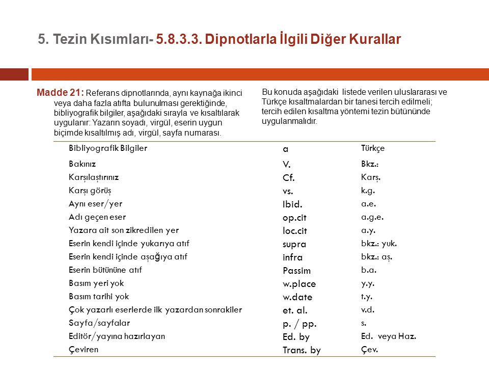5. Tezin Kısımları- 5.8.3.3. Dipnotlarla İlgili Diğer Kurallar