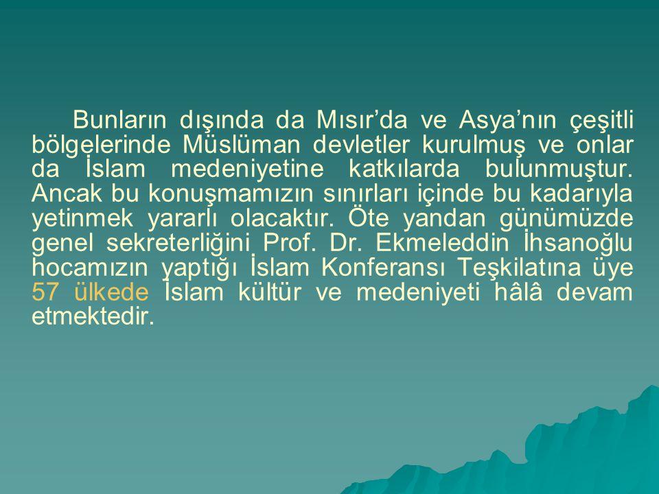 Bunların dışında da Mısır'da ve Asya'nın çeşitli bölgelerinde Müslüman devletler kurulmuş ve onlar da İslam medeniyetine katkılarda bulunmuştur.