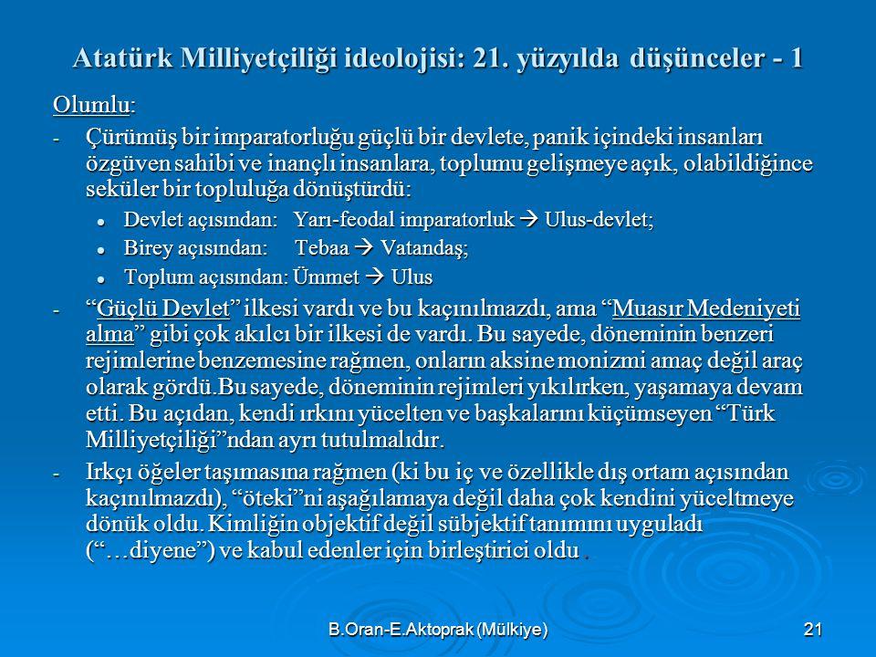 Atatürk Milliyetçiliği ideolojisi: 21. yüzyılda düşünceler - 1