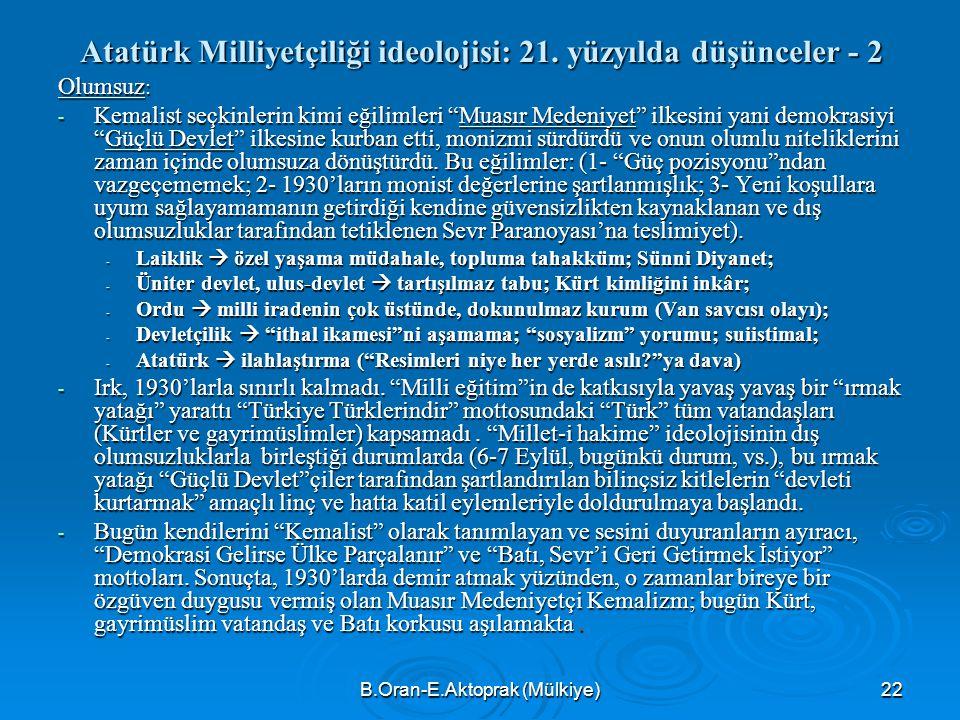 Atatürk Milliyetçiliği ideolojisi: 21. yüzyılda düşünceler - 2