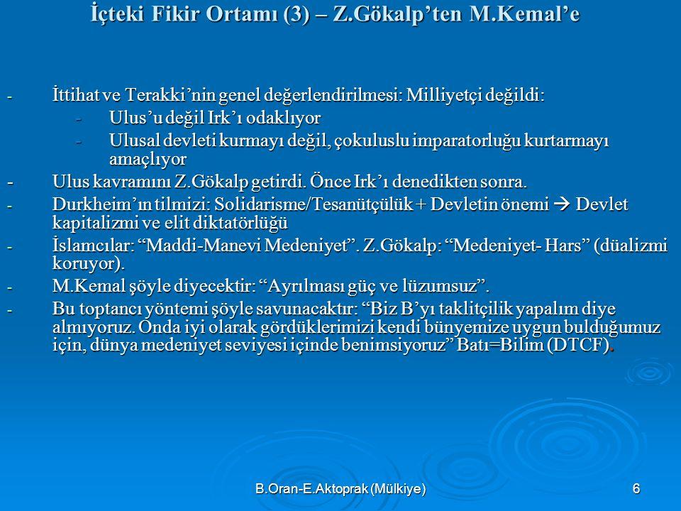 İçteki Fikir Ortamı (3) – Z.Gökalp'ten M.Kemal'e