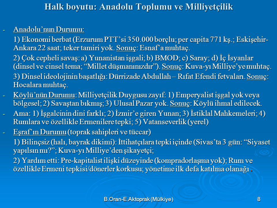 Halk boyutu: Anadolu Toplumu ve Milliyetçilik