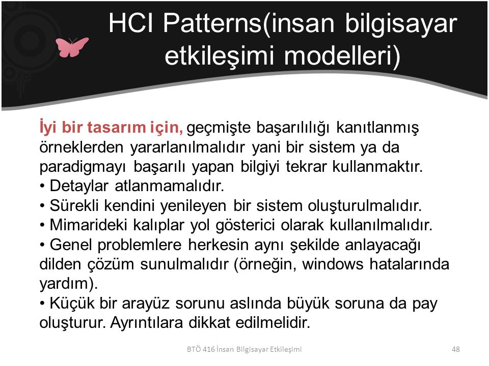 HCI Patterns(insan bilgisayar etkileşimi modelleri)