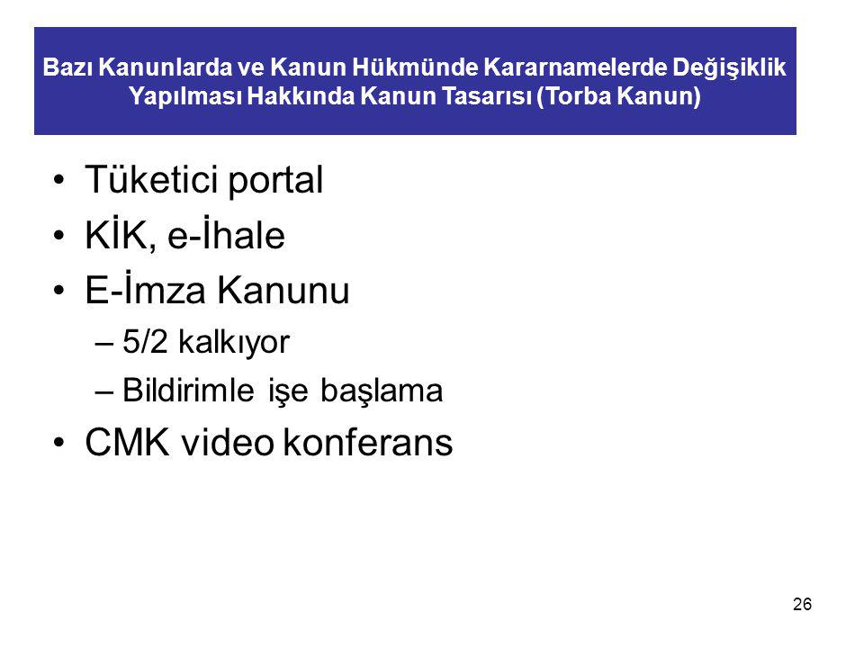 Tüketici portal KİK, e-İhale E-İmza Kanunu CMK video konferans