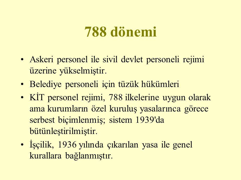788 dönemi Askeri personel ile sivil devlet personeli rejimi üzerine yükselmiştir. Belediye personeli için tüzük hükümleri.