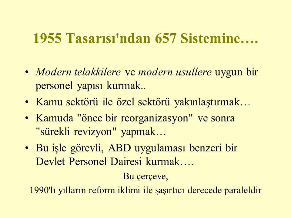 1955 Tasarısı ndan 657 Sistemine….