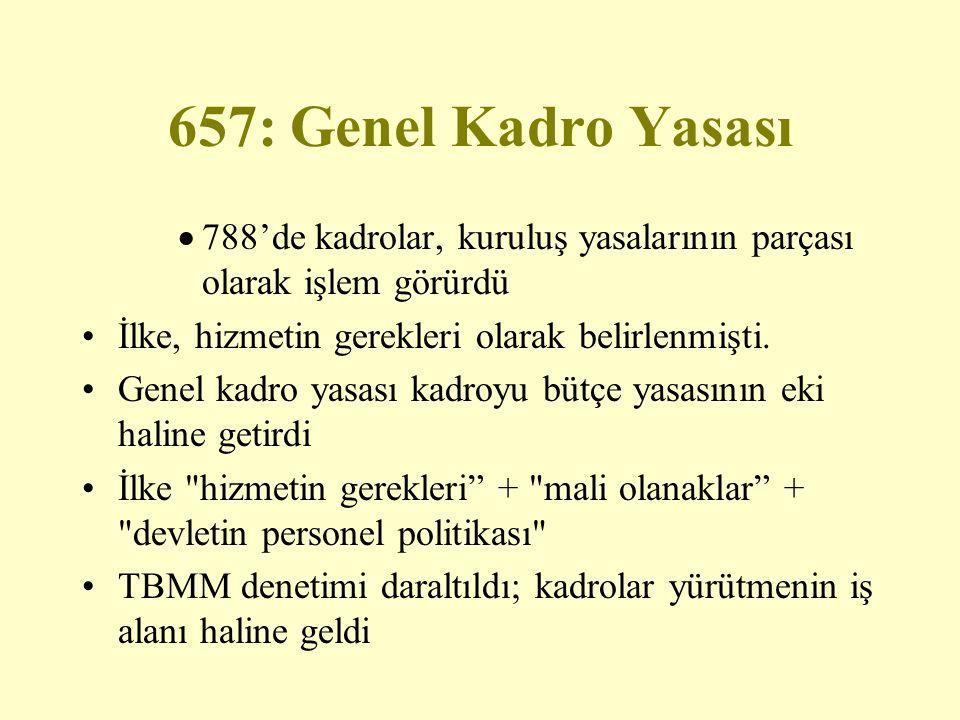 657: Genel Kadro Yasası 788'de kadrolar, kuruluş yasalarının parçası olarak işlem görürdü. İlke, hizmetin gerekleri olarak belirlenmişti.