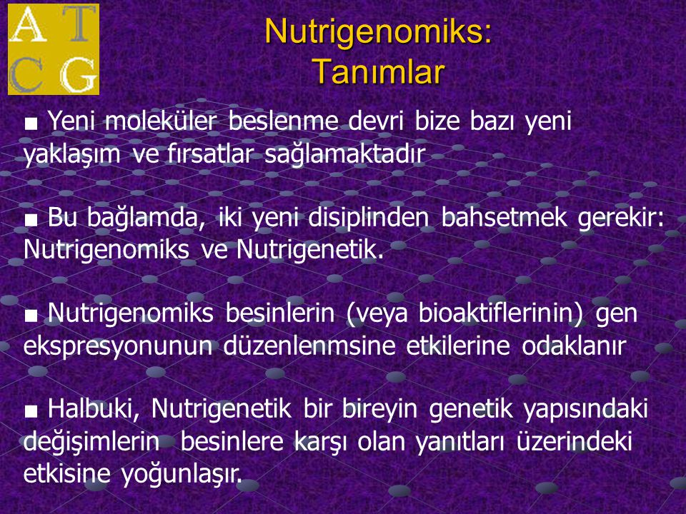 Nutrigenomiks: Tanımlar