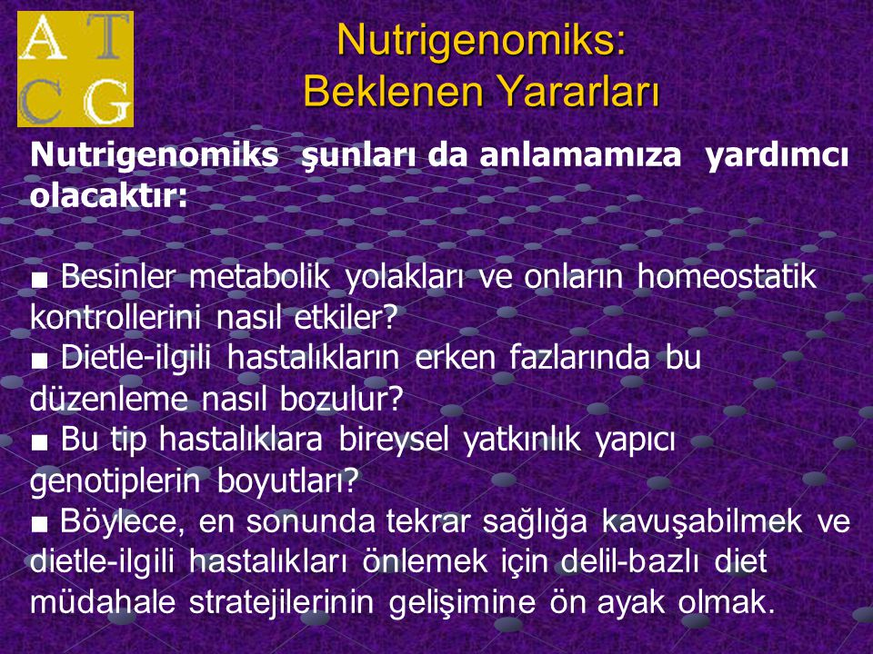 Nutrigenomiks: Beklenen Yararları