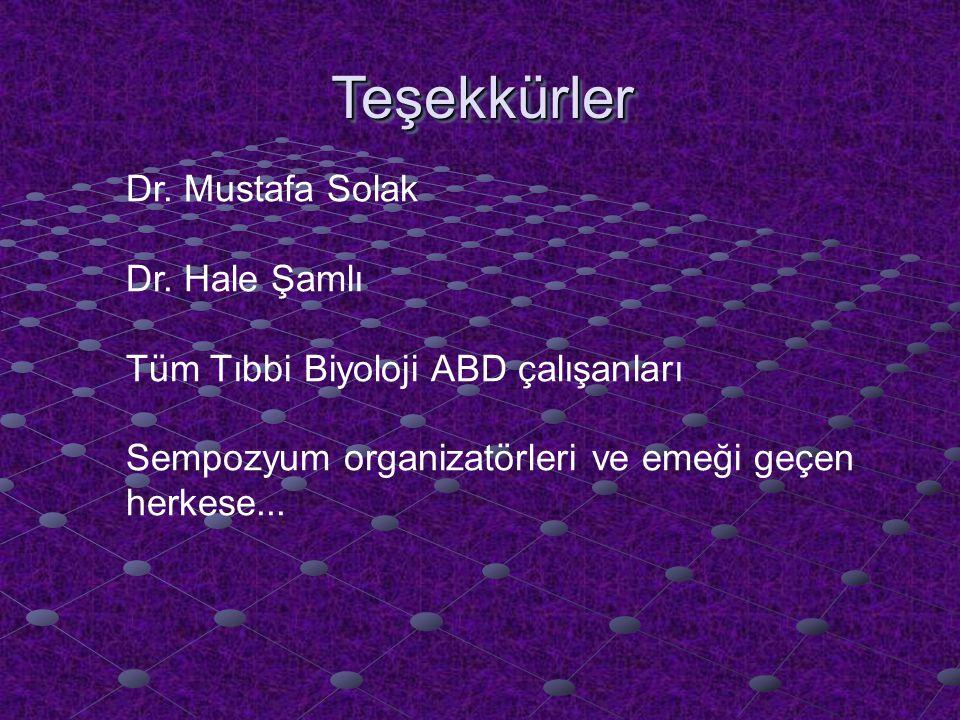 Teşekkürler Dr. Mustafa Solak Dr. Hale Şamlı