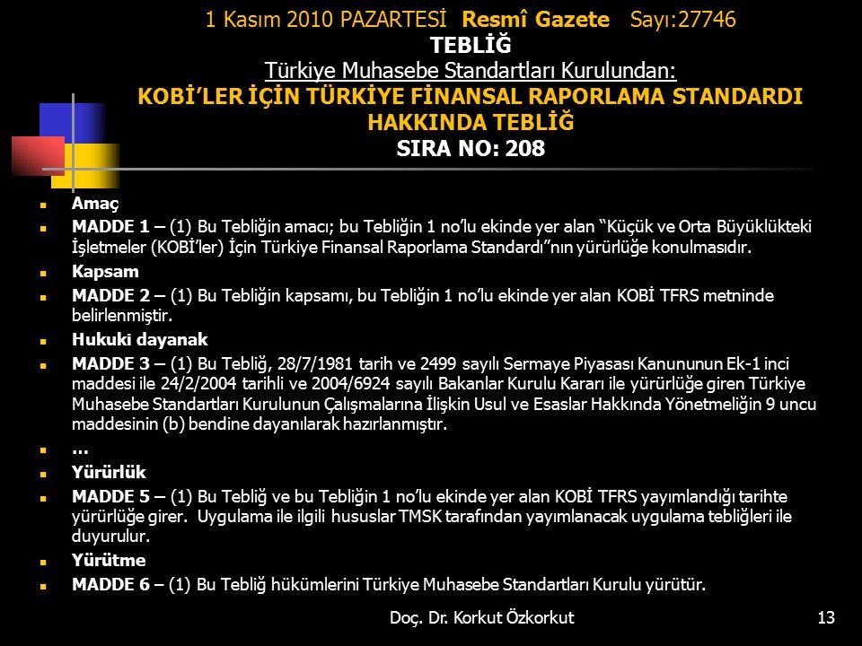 1 Kasım 2010 PAZARTESİ Resmî Gazete Sayı:27746 TEBLİĞ Türkiye Muhasebe Standartları Kurulundan: KOBİ'LER İÇİN TÜRKİYE FİNANSAL RAPORLAMA STANDARDI HAKKINDA TEBLİĞ SIRA NO: 208