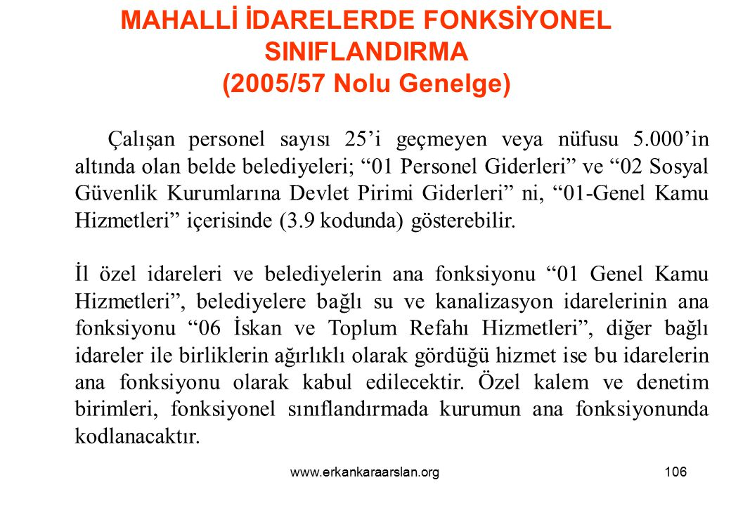 MAHALLİ İDARELERDE FONKSİYONEL SINIFLANDIRMA (2005/57 Nolu Genelge)